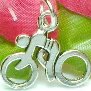 925 STERLING SILVER CYCLIST SYMBOL CHARM / PENDANT