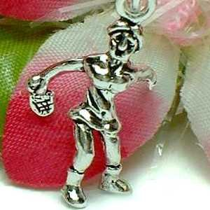 925 STERLING SILVER FEMALE TABLE TENNIS PLAYER CHARM / PENDANT