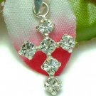 925 STERLING SILVER CROSS CUBIC ZIRCONIA CHARM / PENDANT