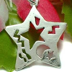 925 STERLING SILVER STAR CUT-OUT MOON CHARM / PENDANT