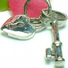 925 STERLING SILVER HEART LOVE LOCK WITH KEY CHARM / PENDANT