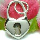 925 STERLING SILVER HEART PADLOCK CHARM / PENDANT