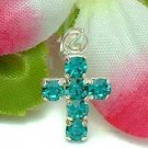 925 STERLING SILVER CROSS TURQUOISE CZ CHARM / PENDANT