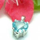 925 STERLING SILVER HEART AQUAMARINE CZ CHARM / PENDANT