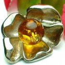925 STERLING SILVER FLOWER WITH AMBER STONE PENDANT