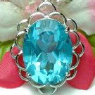 925 STERLING SILVER OVAL BLUE TOPAZ CUBIC ZIRCONIA PENDANT