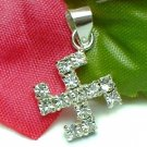 925 STERLING SILVER CUBIC ZIRCONIA SWASTIKA CHARM / PENDANT