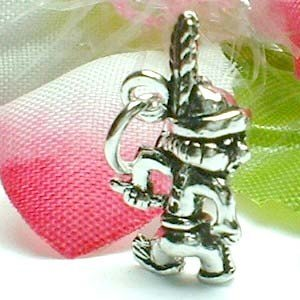 925 STERLING SILVER RED INDIAN BOY CHARM / PENDANT