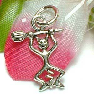925 STERLING SILVER LUCIFER WITH BROOM CHARM / PENDANT