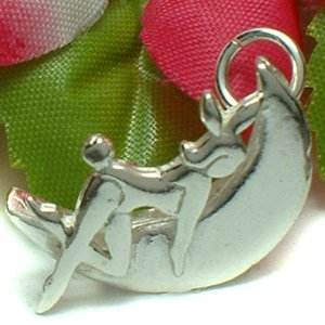 925 STERLING SILVER BUNNY GIRL ON MOON CHARM / PENDANT