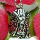 925 STERLING SILVER NATIVE AMERICAN INDIAN CHIEF HEAD CHARM / PENDANT