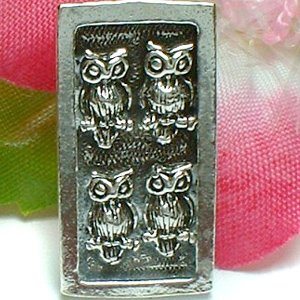 925 STERLING SILVER TWO PAIRS OF OWL BIRD CHARM / PENDANT