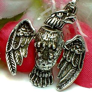 925 STERLING SILVER FLYING HAWK EAGLE (MOVES) CHARM / PENDANT