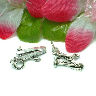 STERLING SILVER SNOW SKIING SKI WITH POLE CHARM PENDANT