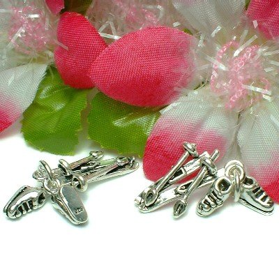 925 STERLING SILVER SNOW SKIING SKI, POLE & BOOTS CHARM