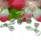 STERLING SILVER TENNIS RACKETS & BALL CHARM PENDANT #3