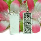 STERLING SILVER TRIPLE PROSPERITY BAMBOO CHARM PENDANT