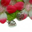 925 STERLING SILVER FLOWER IN HEART CHARM / PENDANT