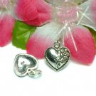 925 STERLING SILVER HEART WITH ROSE CHARM / PENDANT #9