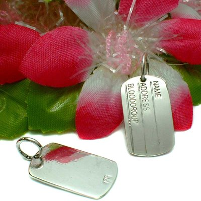 STERLING SILVER DOG TAG (FOR ENGRAVING) CHARM / PENDANT