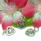 925 STERLING SILVER HEART WITH FLOWERS CHARM PENDANT