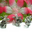 STERLING SILVER MOUSE WITH ROSE (MOVES) CHARM / PENDANT