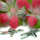 925 STERLING SILVER CROSS WITH ROSE CHARM / PENDANT