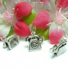 925 STERLING SILVER ANTIQUE TELEPHONE CHARM PENDANT