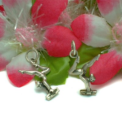 925 STERLING SILVER GYMNASTICS FEMALE VAULTER CHARM