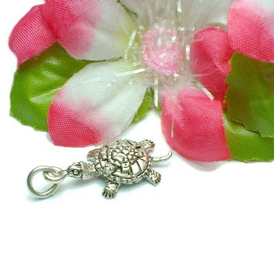 925 STERLING SILVER MOTHER TURTLE W/ BABY CHARM PENDANT