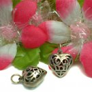 STERLING SILVER FILIGREE PUFFED HEART CHARM / PENDANT