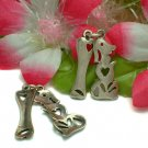 STERLING SILVER DOG WITH BONE (MOVES) CHARM / PENDANT