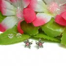 925 STERLING SILVER STAR WITH PINK CZ STUD EARRINGS