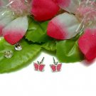 STERLING SILVER PINK ENAMEL BUTTERFLY STUD EARRINGS #1