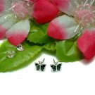 STERLING SILVER BLACK ENAMEL BUTTERFLY STUD EARRINGS