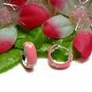 925 STERLING SILVER ENAMEL SAKURA FLOWER HOOP EARRINGS