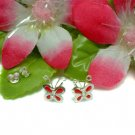 STERLING SILVER BUTTERFLY CZ RED ENAMEL STUD EARRINGS