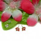 925 STERLING SILVER DAISY CZ RED ENAMEL STUD EARRINGS