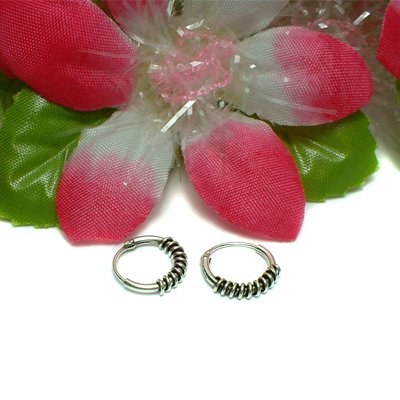 925 STERLING SILVER PLAIN ROPE HOOP EARRINGS #43
