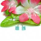 STERLING SILVER SQUARE BLUE TOPAZ CZ 5MM STUD EARRINGS