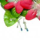 STERLING SILVER DANGLING BLUE CUBIC ZIRCONIA EARRINGS