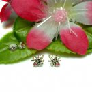 STERLING SILVER SPIDER PINK CUBIC ZIRCONIA STUD EARRING