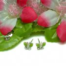 STERLING SILVER BUTTERFLY CUBIC ZIRCONIA STUD EARRINGS