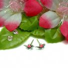 925 STERLING SILVER PINK ENAMEL SNAIL STUD EARRINGS
