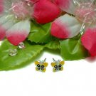 STERLING SILVER YELLOW ENAMEL BUTTERFLY STUD EARRINGS