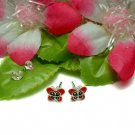 925 STERLING SILVER RED ENAMEL BUTTERFLY STUD EARRINGS