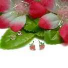 STERLING SILVER PINK ENAMEL STRAWBERRY STUD EARRINGS