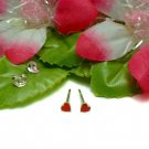 925 STERLING SILVER RED ENAMEL HEART STUD EARRINGS