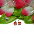 "STERLING SILVER INITIAL ""OK"" LETTER RED STUD EARRINGS"