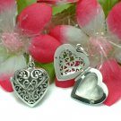 STERLING SILVER FILIGREE HEART PHOTO LOCKET PENDANT #51